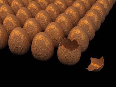 Multiple chocolate eggs , cracked egg , isolated on black Stock Photo - 9079752