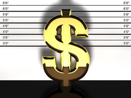 fraud: Dollar sign mug shot, financial fraud and speculation Stock Photo