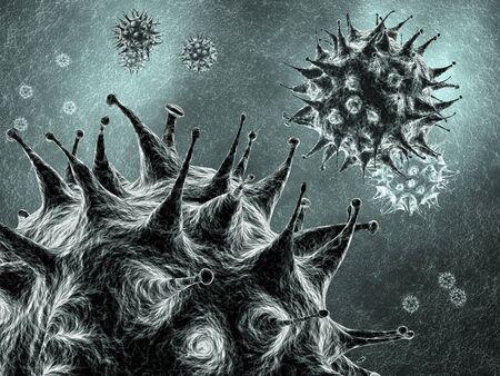 virology: Viruses , detailed 3d illustration Stock Photo