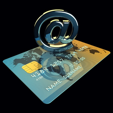 Credit card and arobase sign on black background , 3d illustration illustration