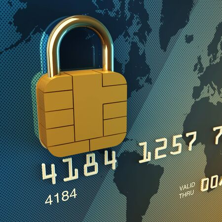 Credit card chip as padlock , 3d illustration 스톡 사진