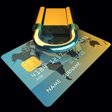 electronic commerce: Credit card and padlock , 3d illustration