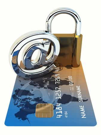 internet fraud: Credit card ,arobase sign and a padlock on white background , 3d illustration Stock Photo