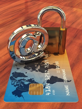 Credit card ,arobase sign and a padlock on wooden table , 3d illustration