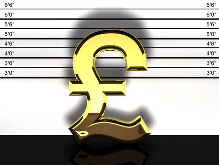 mug shot: Pound sterling sign mug shot, financial fraud and speculation