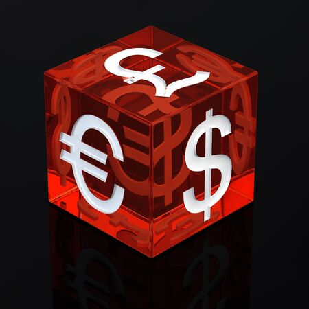 Red gambling dice with currency symbols on black background , 3d illustration Stock Illustration - 9584036