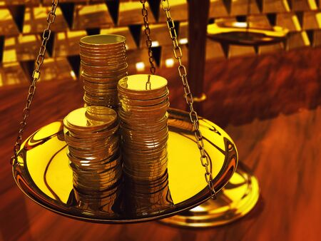 Gold coins on brass scale and gold ingots ,3d illustration 스톡 사진