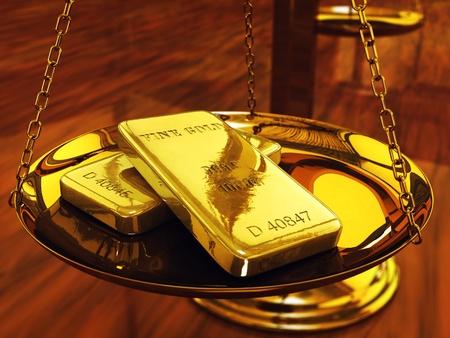 lingote de oro: Lingotes de oro a escala de lat�n, ilustraci�n 3d