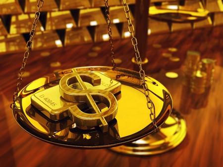 safe investments: Simbolo del dollaro e lingotti d'oro, illustrazione 3D