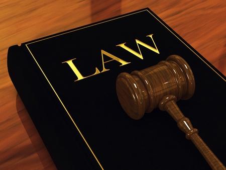 orden judicial: Libro Mallete y ley del juez, ilustraci�n 3d