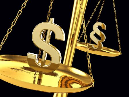 Dollar and paragraph sign on a brass scale , 3d illustration Stock Illustration - 9652745