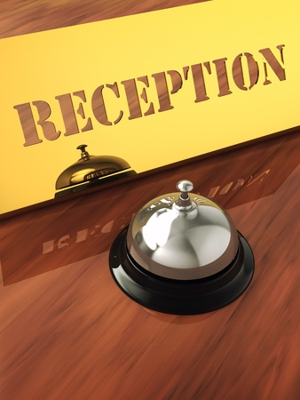 brass plate: Chrome service bell and brass reception plate ,3d illustration Stock Photo