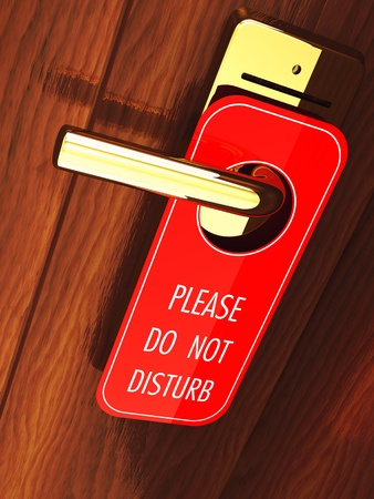 door tags: Do not disturb sign hanging on a hotel door handle, 3d illustration Stock Photo
