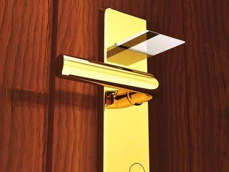 Hotel card lock and keycard , 3d illustration Stock Illustration - 9696579