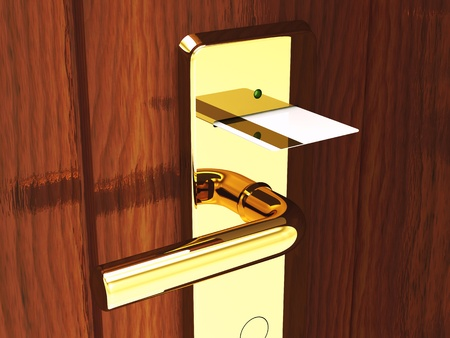 magnetic: Hotel card lock and keycard , 3d illustration