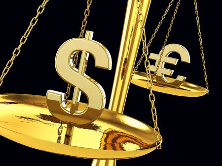 Dollar and euro signs on a brass scale , 3d illustration illustration