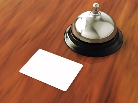 hotel reception: Blank hotel cardkey and service bell , 3d illustration