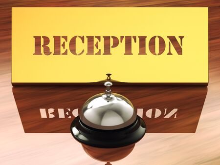 hotel lobby: Chrome service bell and brass reception plate ,3d illustration Stock Photo