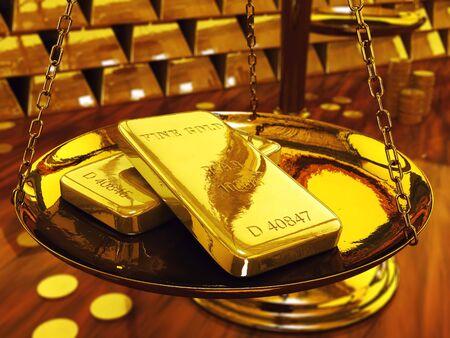 gold ingot: Gold ingots on brass scale ,3d illustration Stock Photo