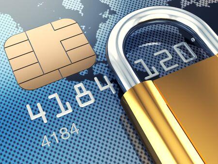 scam: Credit card and padlock, 3d illustration