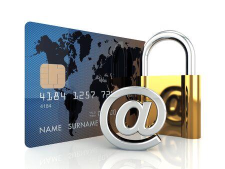 transaction: Credit card, arobase teken en een hangslot op witte achtergrond, 3d illustratie
