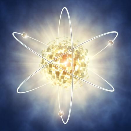 atomo: Concepto de fisi�n nuclear, ilustraci�n 3d