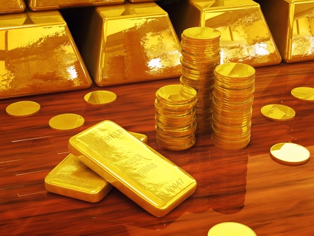 Golden coins and ingots , 3d illustration