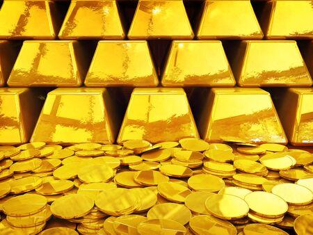 lingotto: Oro mucchio di monete e lingotti, illustrazione 3D