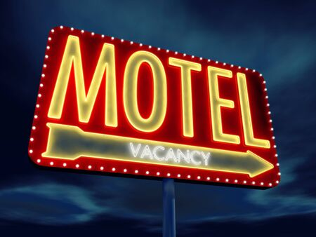 the roadside: Motel neon sign at dusk , 3d illustration Stock Photo