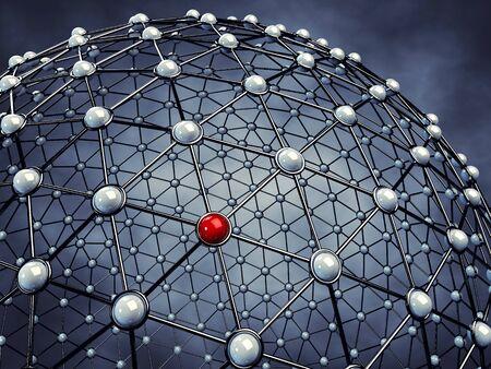 nodes: Model of a global network , 3d illustration Stock Photo