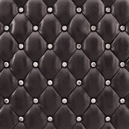 Black upholstery pattern with diamonds , 3d illustration Stock Photo