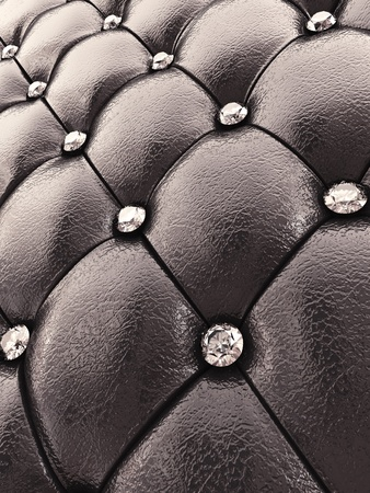 upholstered: Black upholstery pattern with diamonds , 3d illustration Stock Photo