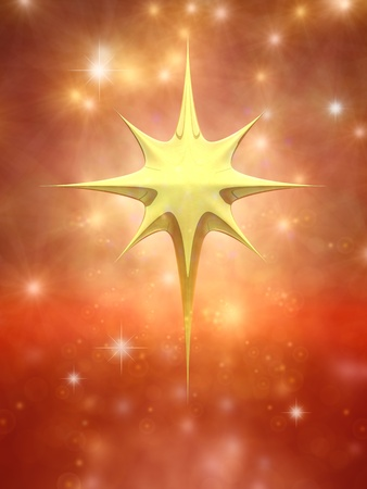 star of bethlehem: Christmas star on red sparkly background