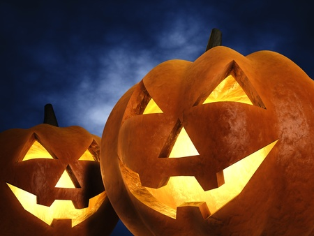 zucche halloween: Zucche di Halloween, illustrazione 3d Archivio Fotografico