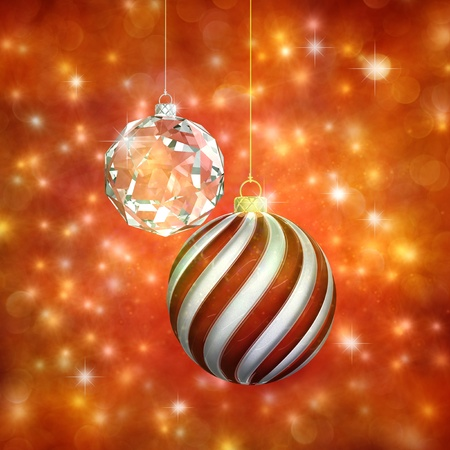 glittery: Christmas baubles , 3d illustration