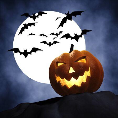 harvest moon: Halloween scene  Stock Photo
