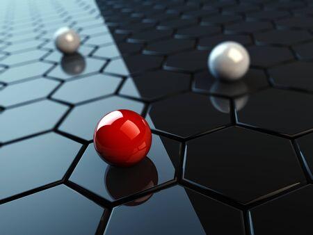 sphere standing: Uniqueness concept, 3d illustration