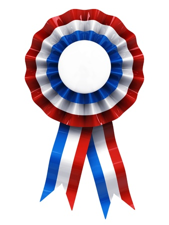 award ribbon rosette: French cockade , cocarde , isolated on white Stock Photo