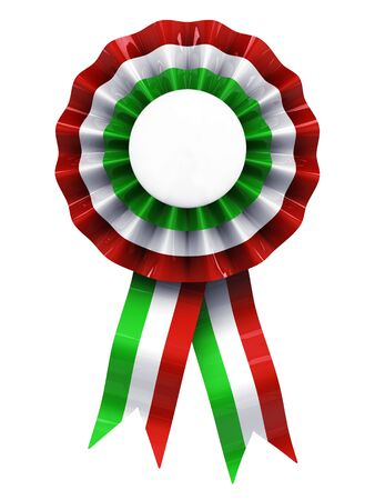 award ribbon rosette: Italian cockade ,coccarda , isolated on white