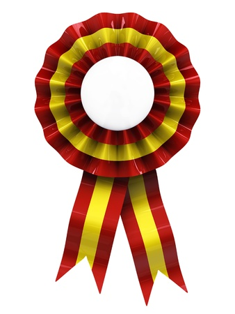 award ribbon rosette: Spanish cockade , escarapela ,isolated on white