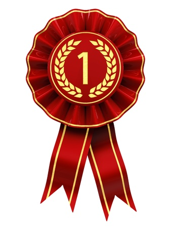 award ribbon rosette: First place , red and gold rosette , isolated on white