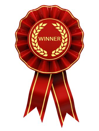 award ribbon rosette: Winner , red and gold rosette , isolated on white