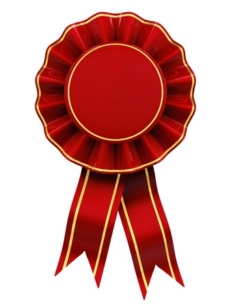 badge with ribbon: Red and gold rosette , blank , isolated on white Stock Photo