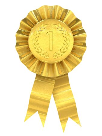 award ribbon rosette: First place , gold rosette