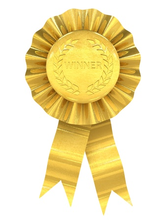award ribbon rosette: Winner , gold rosette