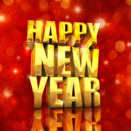 3d text: Happy New Year , best wishes