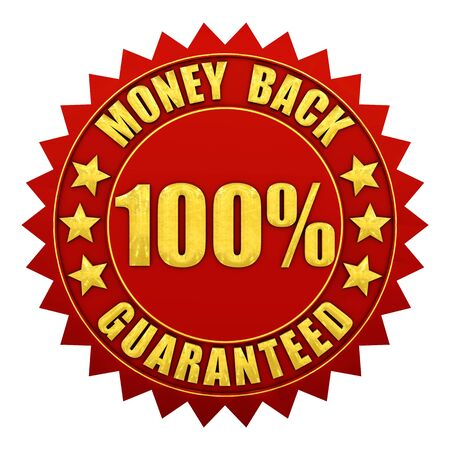 back round: 100 percent money back guaranteed , red and gold warranty label isolated on white