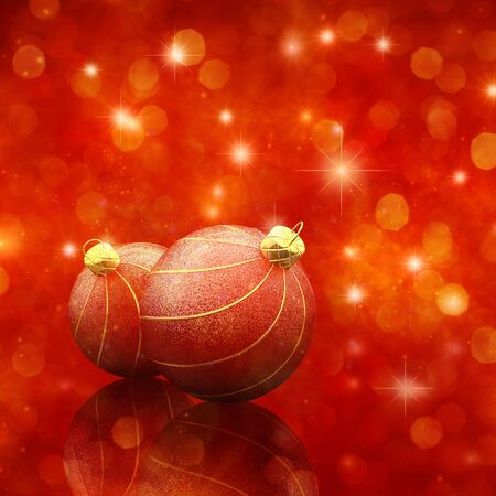 glittery: Christmas baubles on glittery red background