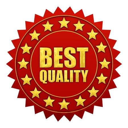 assurance: Best quality warranty, red and gold label