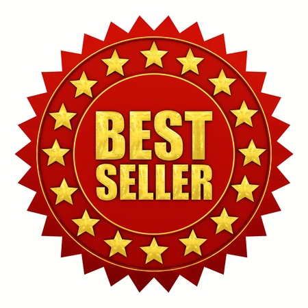 best products: Bestseller warranty, red and gold label Stock Photo